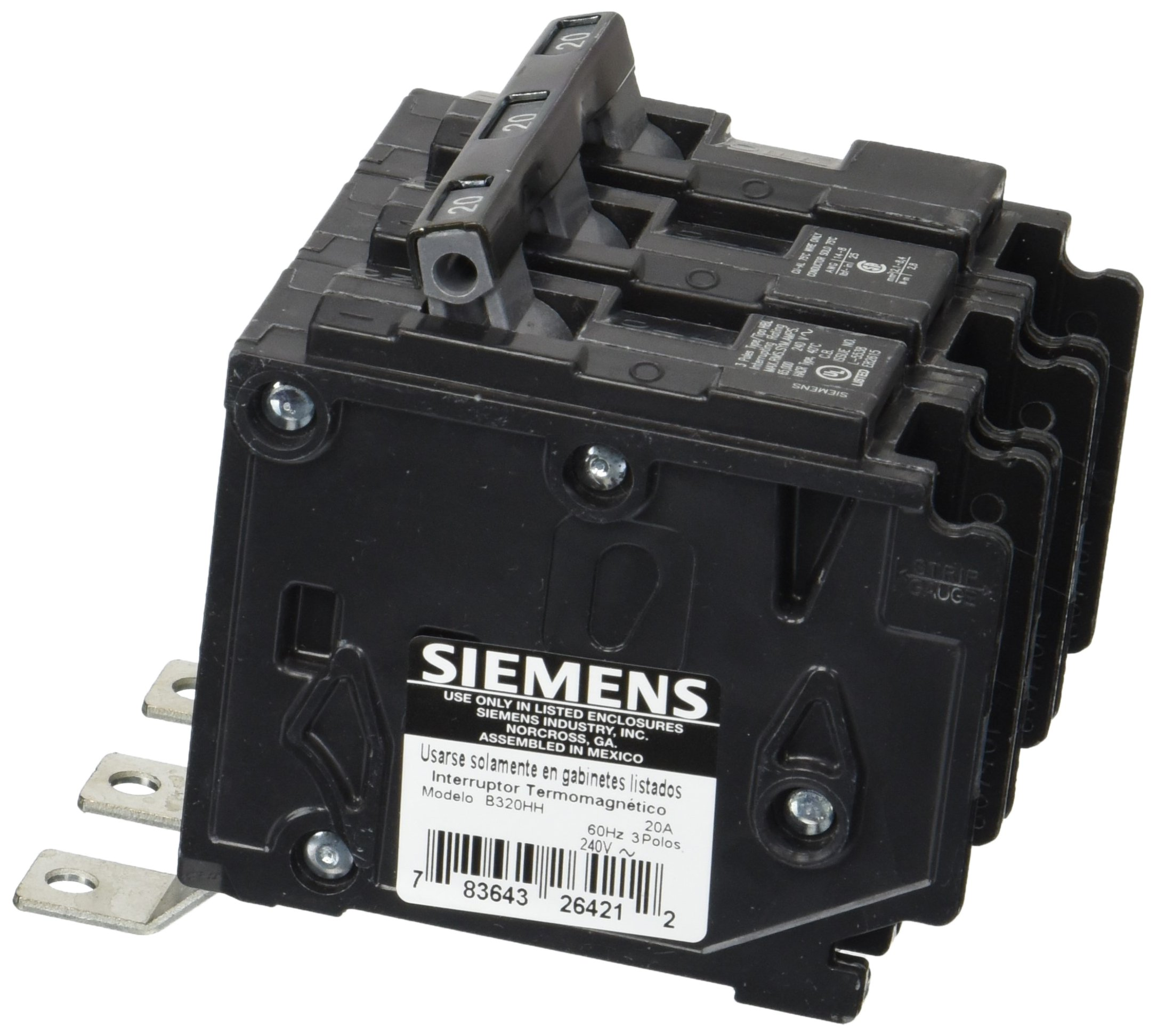 Siemens B320HH 20-Amp Three Pole 240-Volt 65KAIC Bolt in Breaker