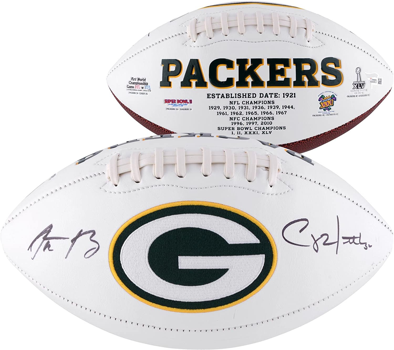 Aaron Rodgers & Clay Matthews Green Bay Packers Autographed White Panel Football - Fanatics Authentic Certified