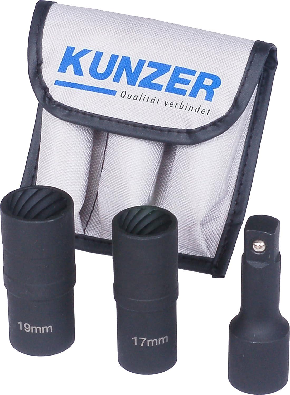3-Teilig in Aufbewahrungstasche Kunzer 7FSL03 Spezial Spiralprofil Schraubenausdrehersatz