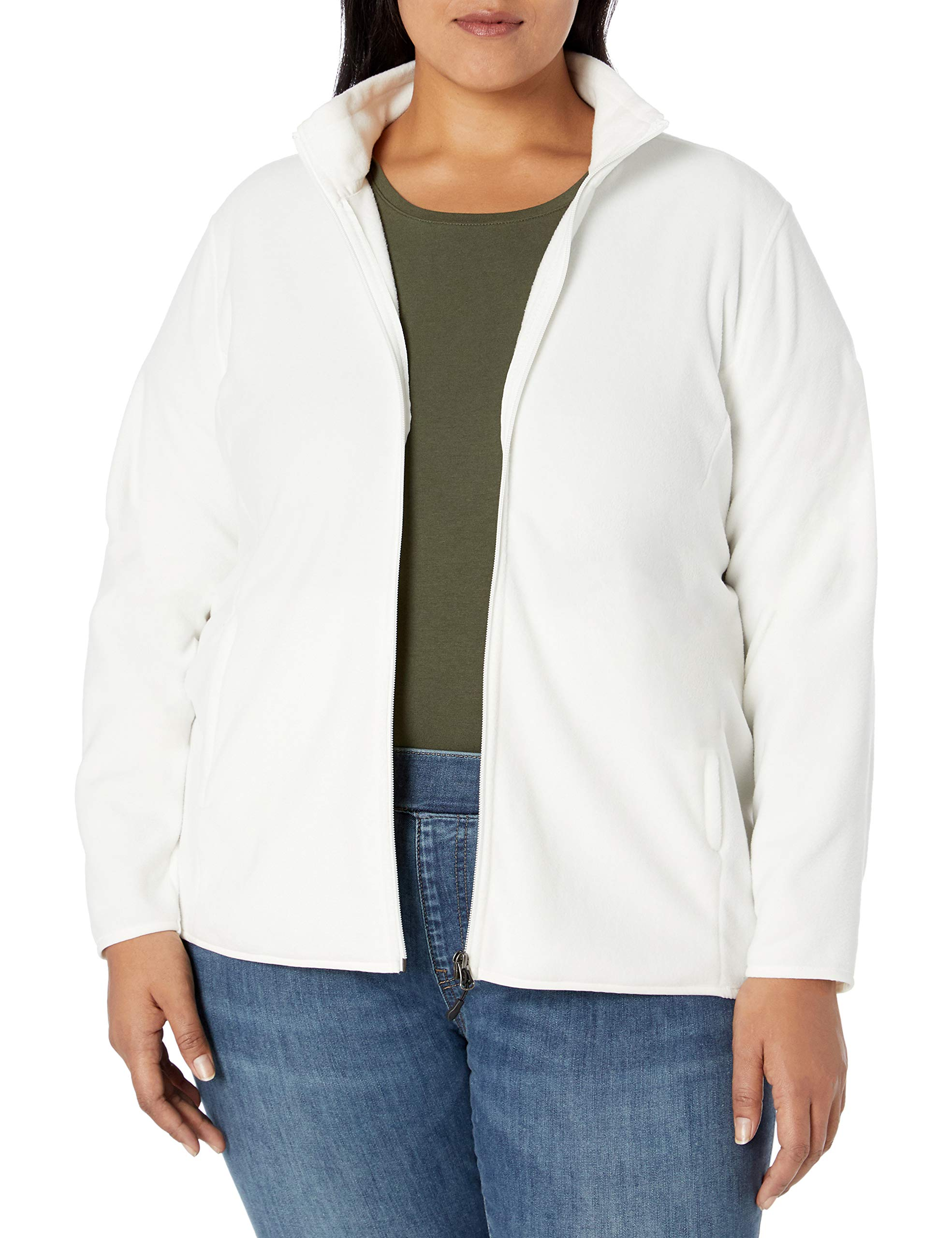 Essentials Womens Plus Size Full-Zip Polar Fleece Jacket