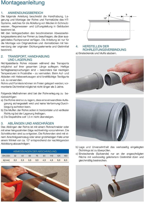 Ostendorf HT-Rohr /Übergangsrohr mit Dichtring DN90 x DN75