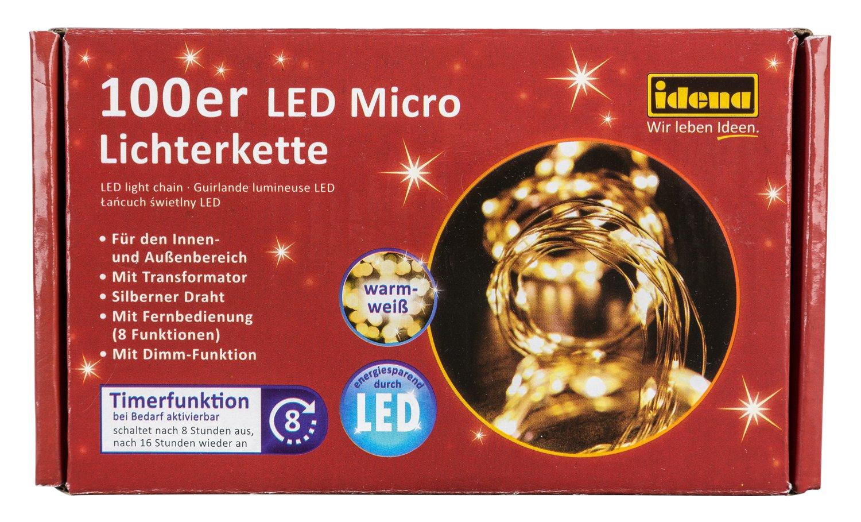 Idena Cadena de luces LED para interior y exterior, 100, Blanco cálido, con temporizador, 31351: Amazon.es: Iluminación
