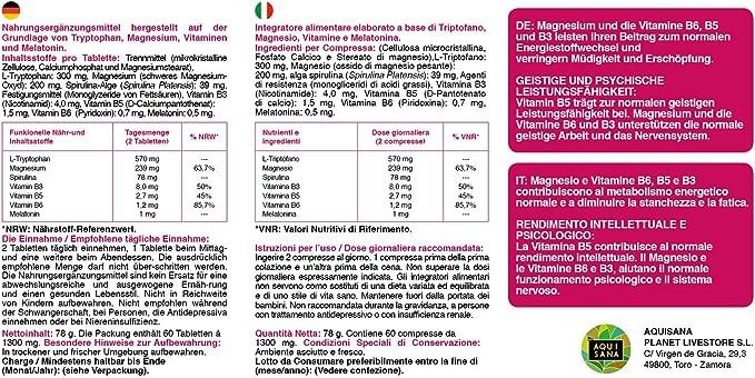 L-Triptófano con Magnesio + Vitamina B6,B5, B3 + Melatonina | Mejora la calidad del sueño, Refuerza el sistema inmunológico y Ayuda a Disminuir el Cansancio | 60 Comprimidos | Aquisana: Amazon.es: Salud
