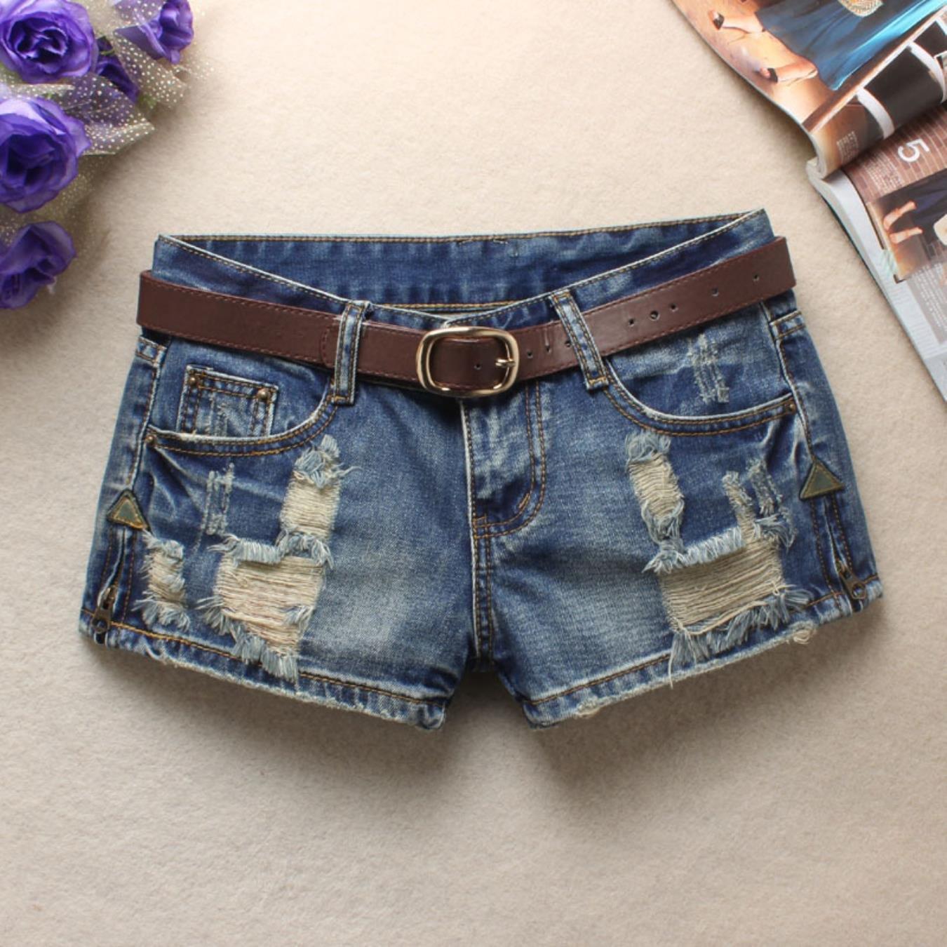 zODsfDWS Women Short Jeans Retro Hole Burr Loose Large Size Women Shorts Fenim Low Waist Shorts