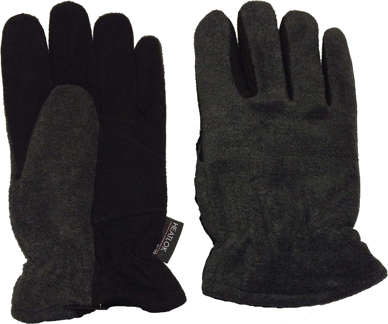 WARM Heatlok Insulated-Gloves-Deer Skin Palm-Polar Fleece Back-Black-GRAY-XL