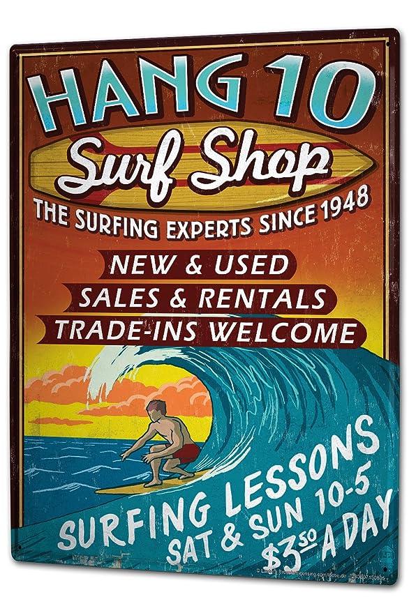 Cartel Letrero de Chapa XXL Taller Oficina Tienda de surf ...