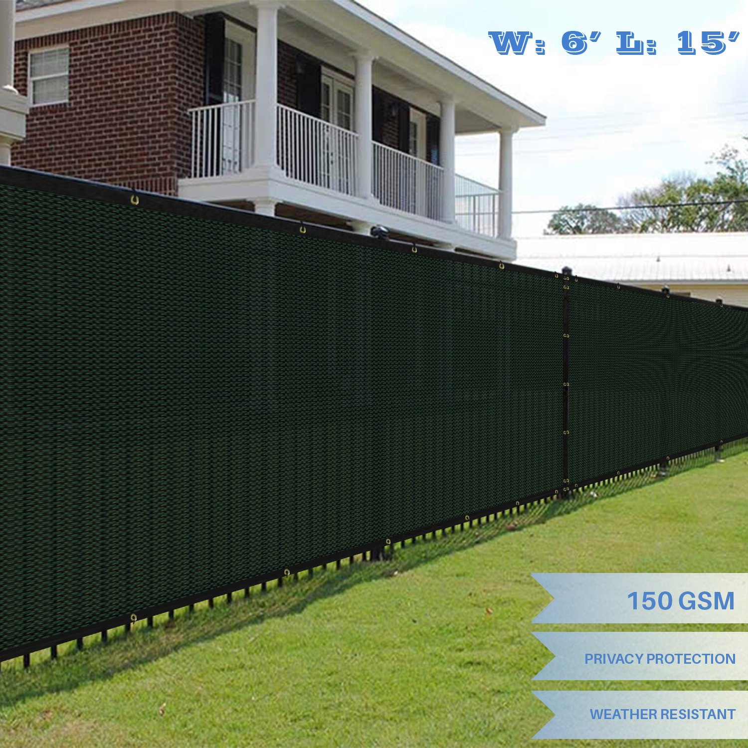 E&K Sunrise 6' x 15' Green Fence Privacy Screen, Commercial Outdoor Backyard Shade Windscreen Mesh Fabric 3 Years Warranty (Customized Set of 1