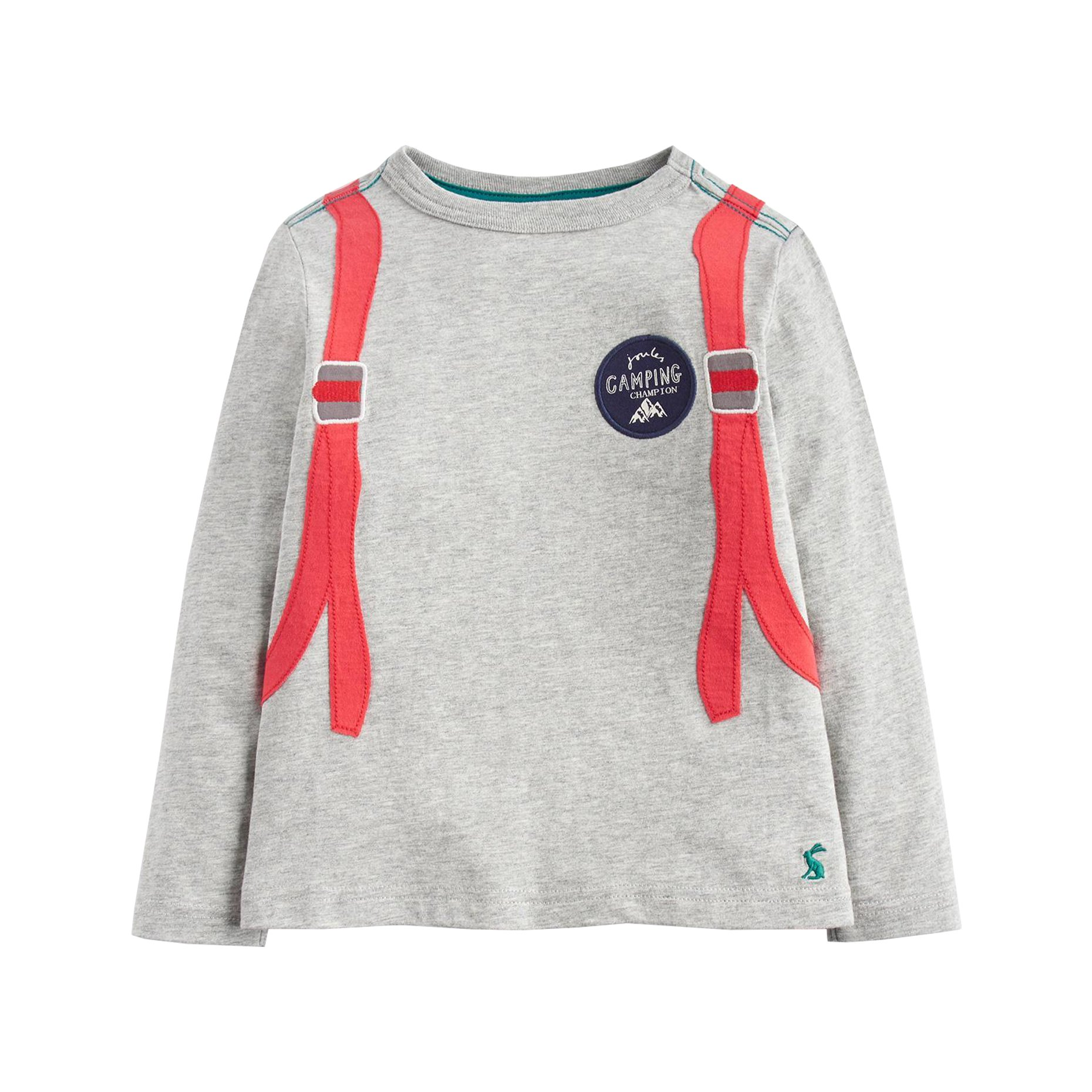 Joules Kids Baby Boy's Applique Jersey Long Sleeve Tee (Toddler/Little Kids) Grey Marl Backpack 6