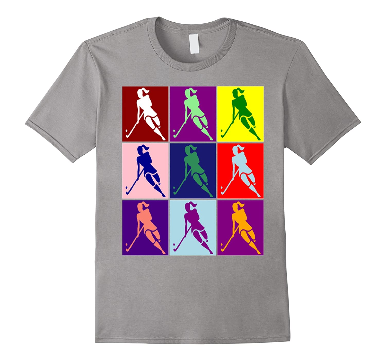 Field Hockey Andy Warhol Style Pop Art T-shirt-CL
