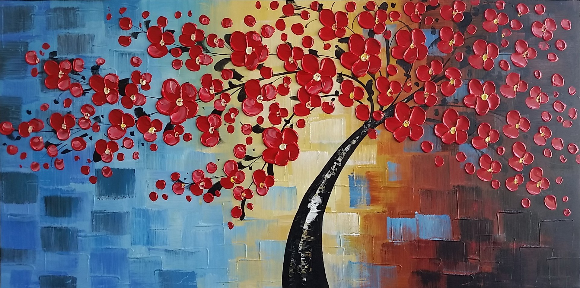 Wieco Art Abstract Floral Oil Paintings on Canvas Wall Art for Bedroom Bathroom Home Decorations Dazzling Beauty 3D Thick Layer Modern Large 100% Hand Painted Wrapped Pretty Red Flowers Artwork L