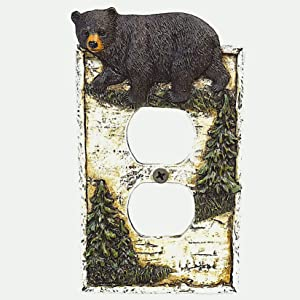 Black Bear on Birch with Pine Trees Outlet Receptacle Cover Wall Plate Cabin Lodge Home Decor