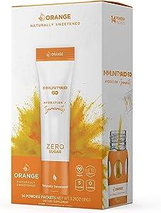 LIFEAID IMMUNITYAID GO! Zero Sugar Immunity + Hydration Packet, Vitamin C, Echinacea, Zinc, Astragalus Root, Keto-friendly, Vegan & Gluten-Free, 5 calories, Naturally Sweetened, No Caffeine, 14 Pack