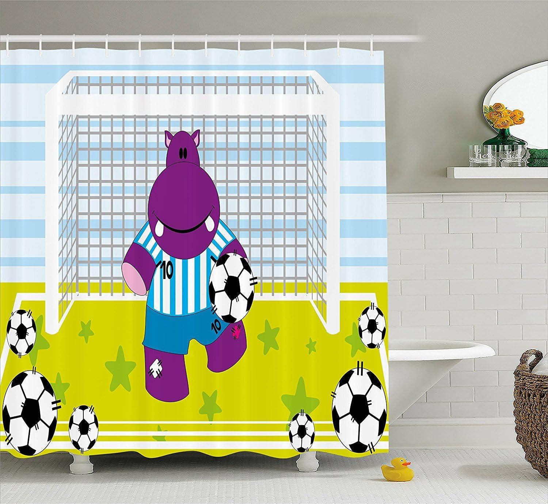 KRISTI MCCARTNEY Sports Decor Shower Curtain, Cute Hippopotamus Soccer Goal Keeper Football Cartoon Print, Fabric Bathroom Decor Set with Hooks, 84 Inches Extra Long, Apple Green Baby Blue Purple