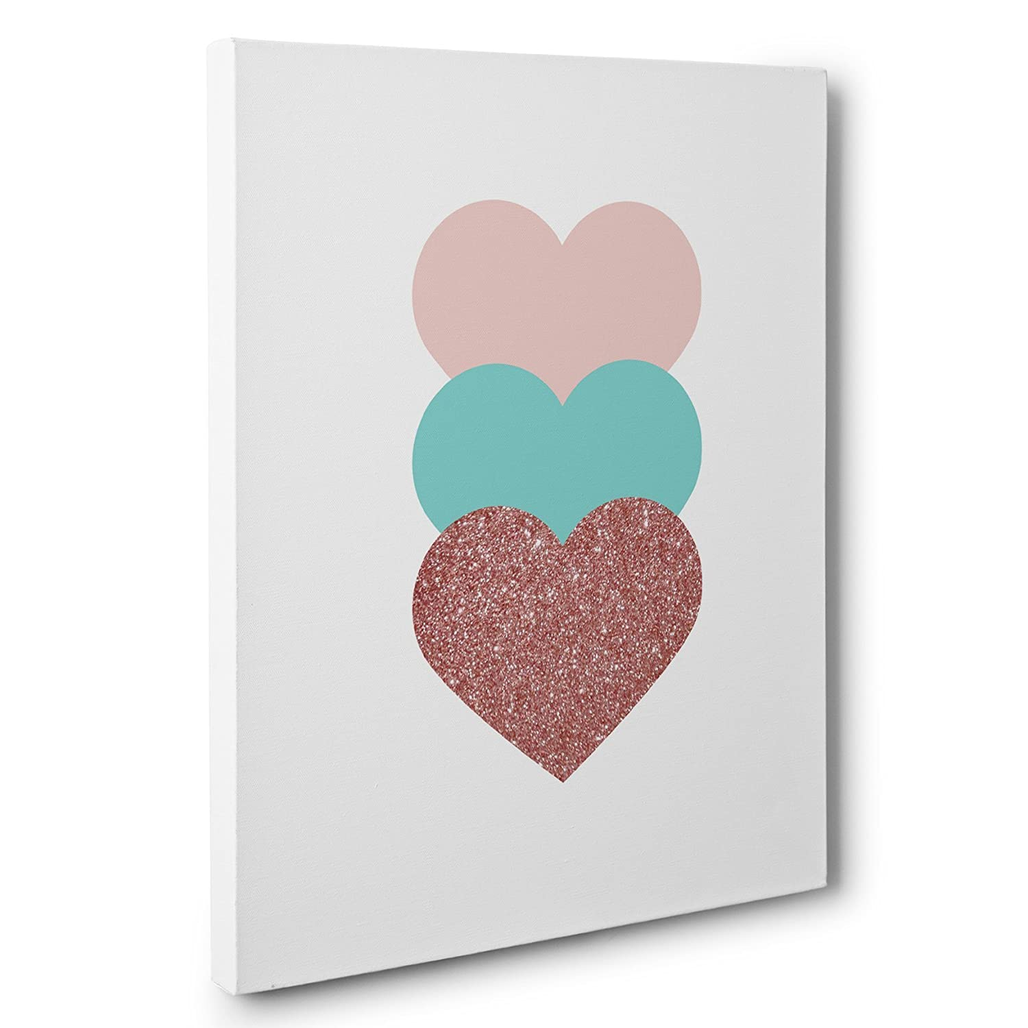 Pink Blue and Glitter Hearts Canvas Wall Art