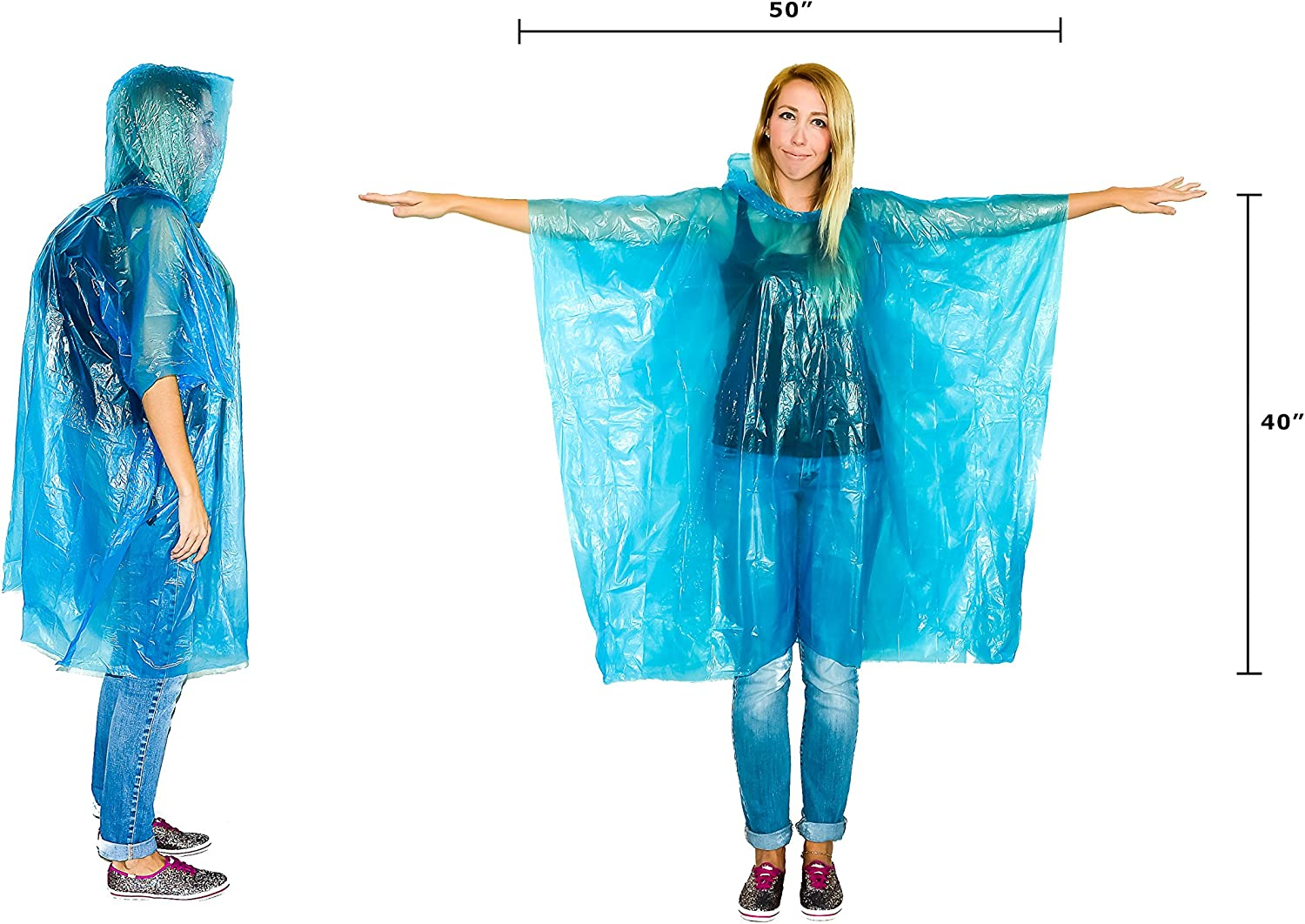 Disposable Emergency Ponchos Perfect for Camping Hiking /& Travel Lingito 20 Pack of Family Rain Ponchos