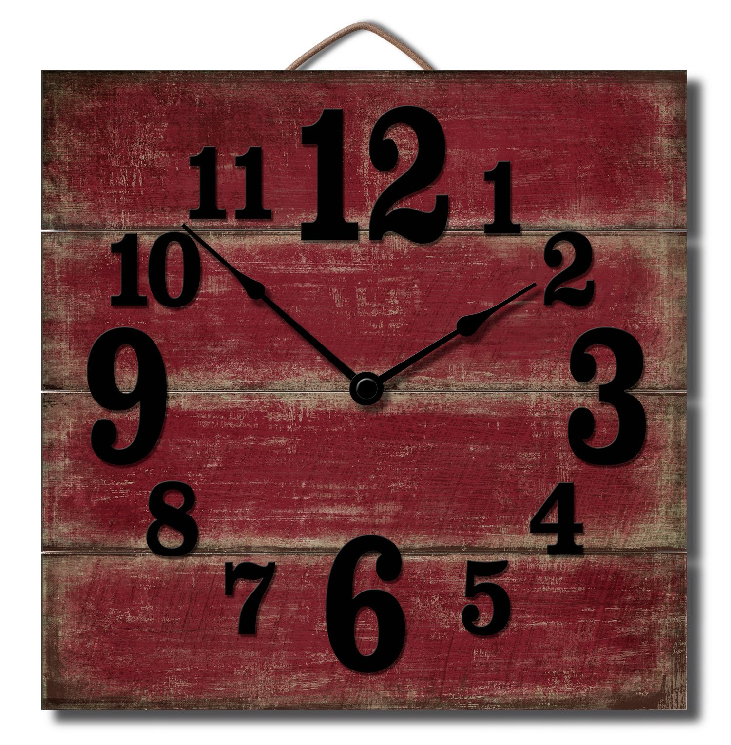 Highland Graphics 12'' Rustic Red Wall Clock Made in USA from Reclaimed Wood Slats