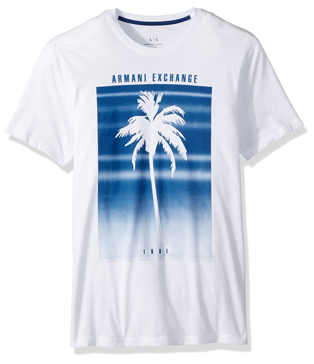 ea93b30e42e Amazon.com: A|X Armani Exchange Men's Palm Tree Fading Graphic Tee ...