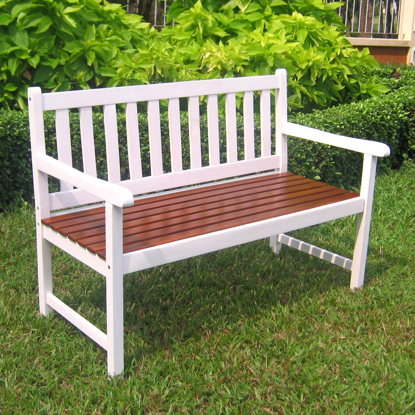 International Caravan Furniture Piece Outdoor 4 Foot Wood Bench