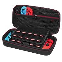 Etui pour Nintendo Switch - Younik Housse de Transport Rigide Version Améliorée avec Espace de Stockage Plus Large pour 19 Jeux, Adaptateur Secteur Officiel et Autres Accessoires Nintendo Switch