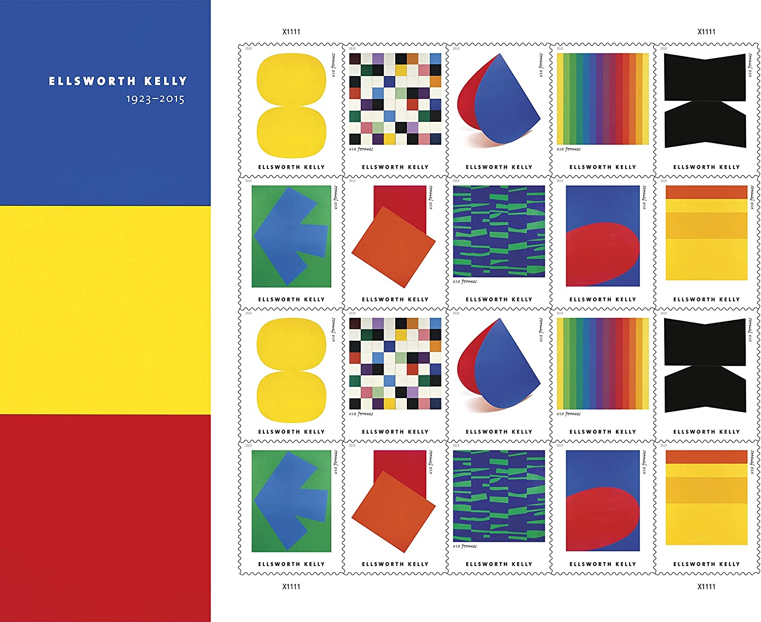 Ellsworth Kelly Artist Pane of 20 US First Class Forever Postage Stamps Scott 5391a (20 Stamps)
