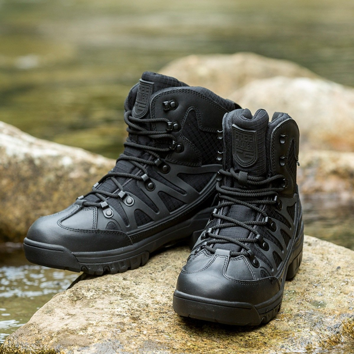 FREE SOLDIER Men's Outdoor Tactical Boots 6 Inches Breathable Suedu Leather Military Hiking Boots