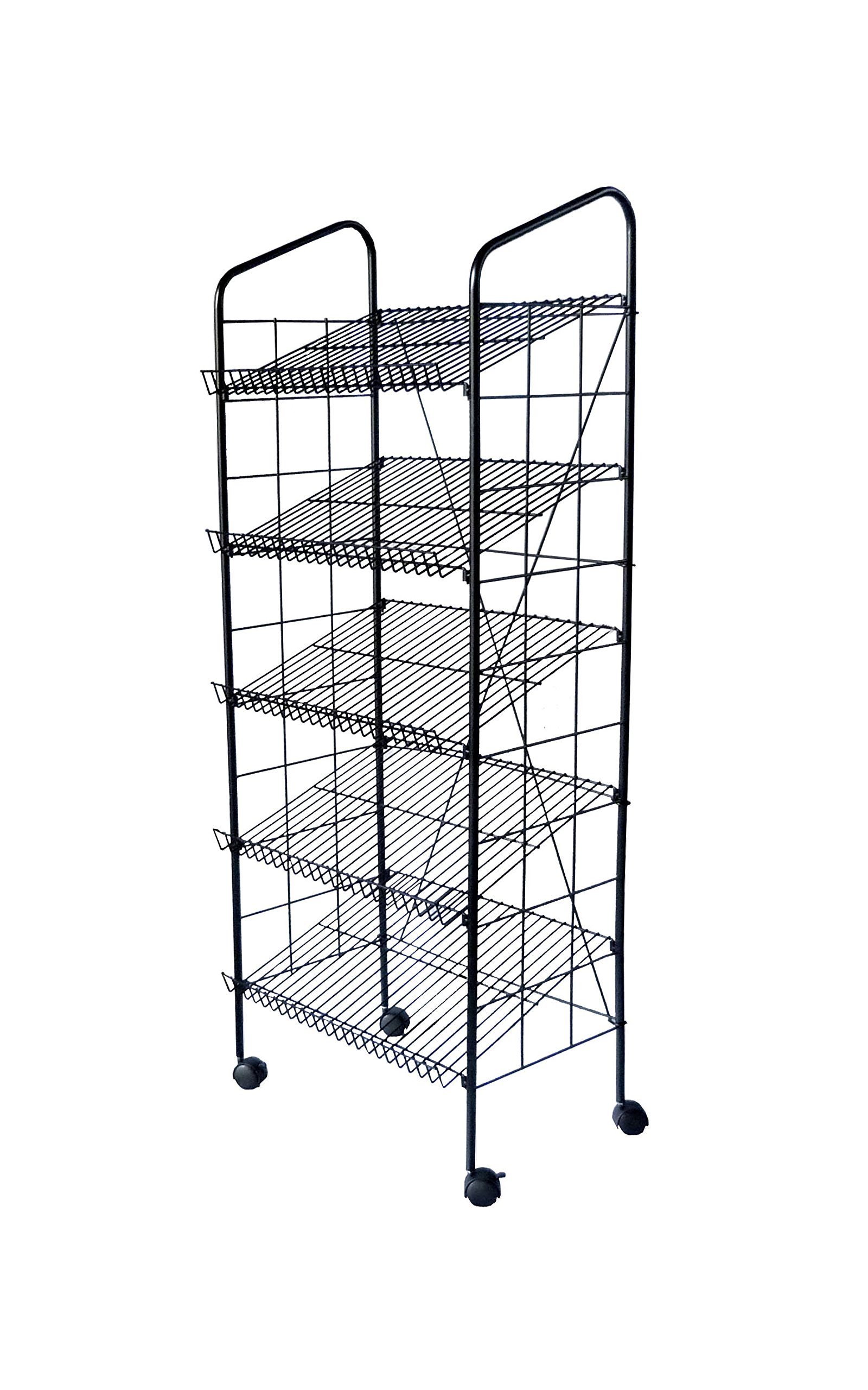 FixtureDisplays 24.3'' x 49.1'' x 14.7'' Bakery Display Rack w/ Wheels, 4 Wire Gravity Shelves, Mild Steel - Black 19406