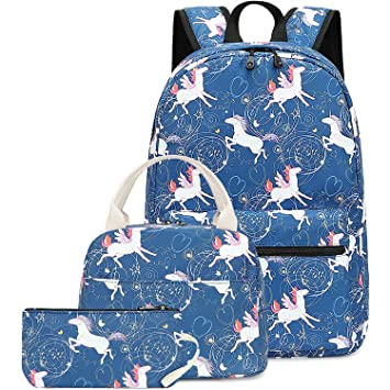 ebcefc63a7be CAMTOP Teens Backpack for School Girls School Bookbag Set Student Backpack  3 In 1 (Dark Blue)