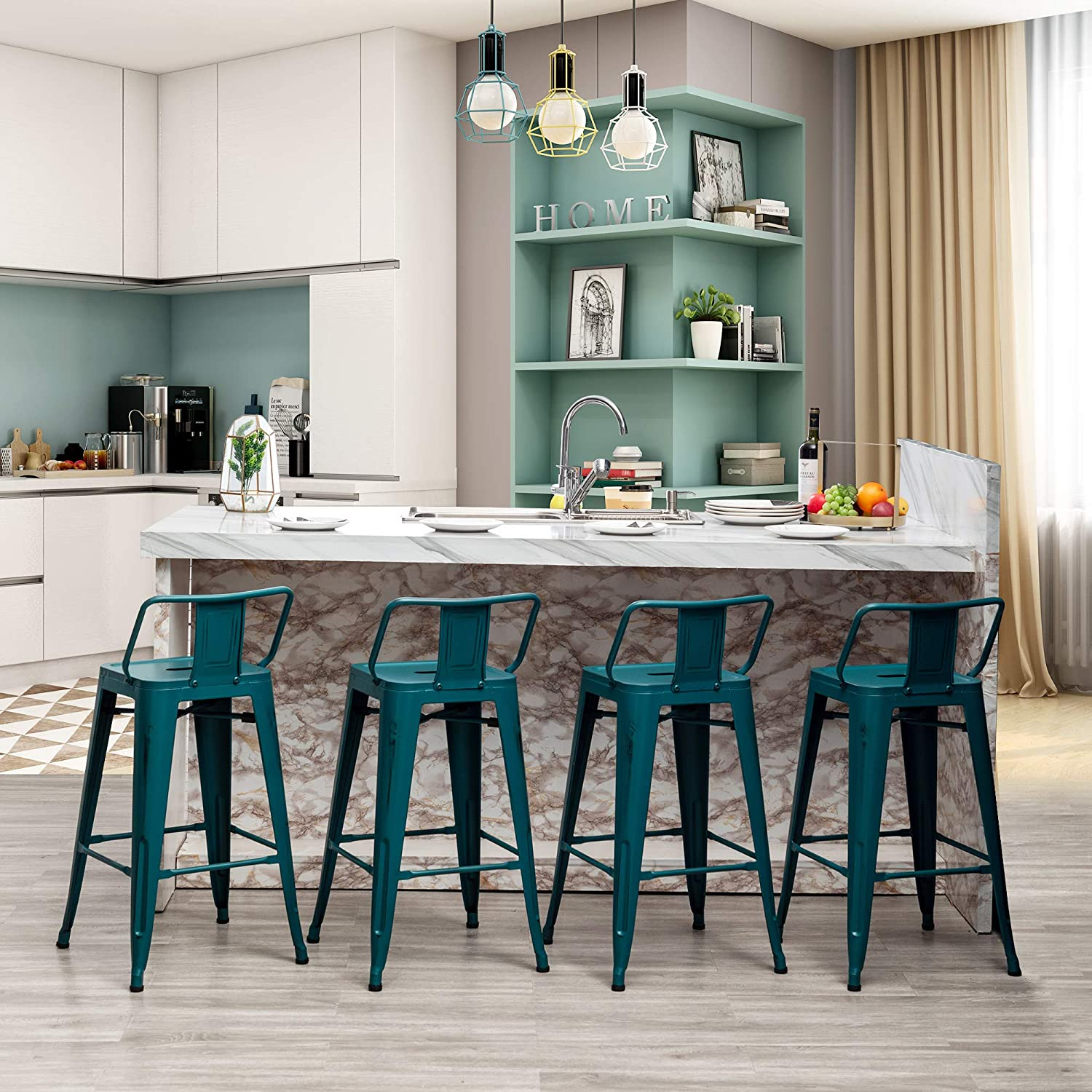 Amazon.com: Metal Bar Stools Set Of 4 With Backs Counter Height Barstools Industrial Style (26 Inch, Teal): Kitchen & Dining
