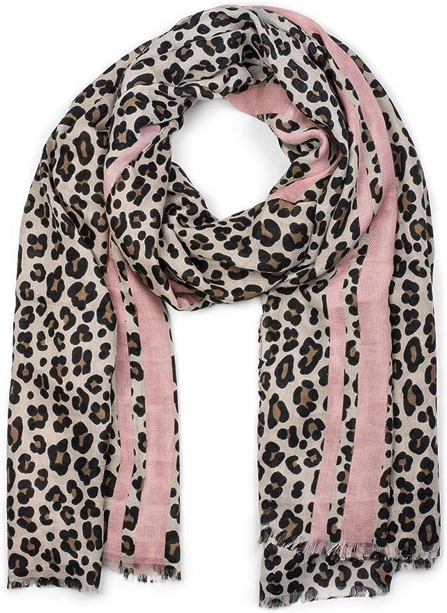 estola coloridas rayas y flecos chal de invierno styleBREAKER chal de mujer con motivo de leopardo pa/ñuelo 01017082