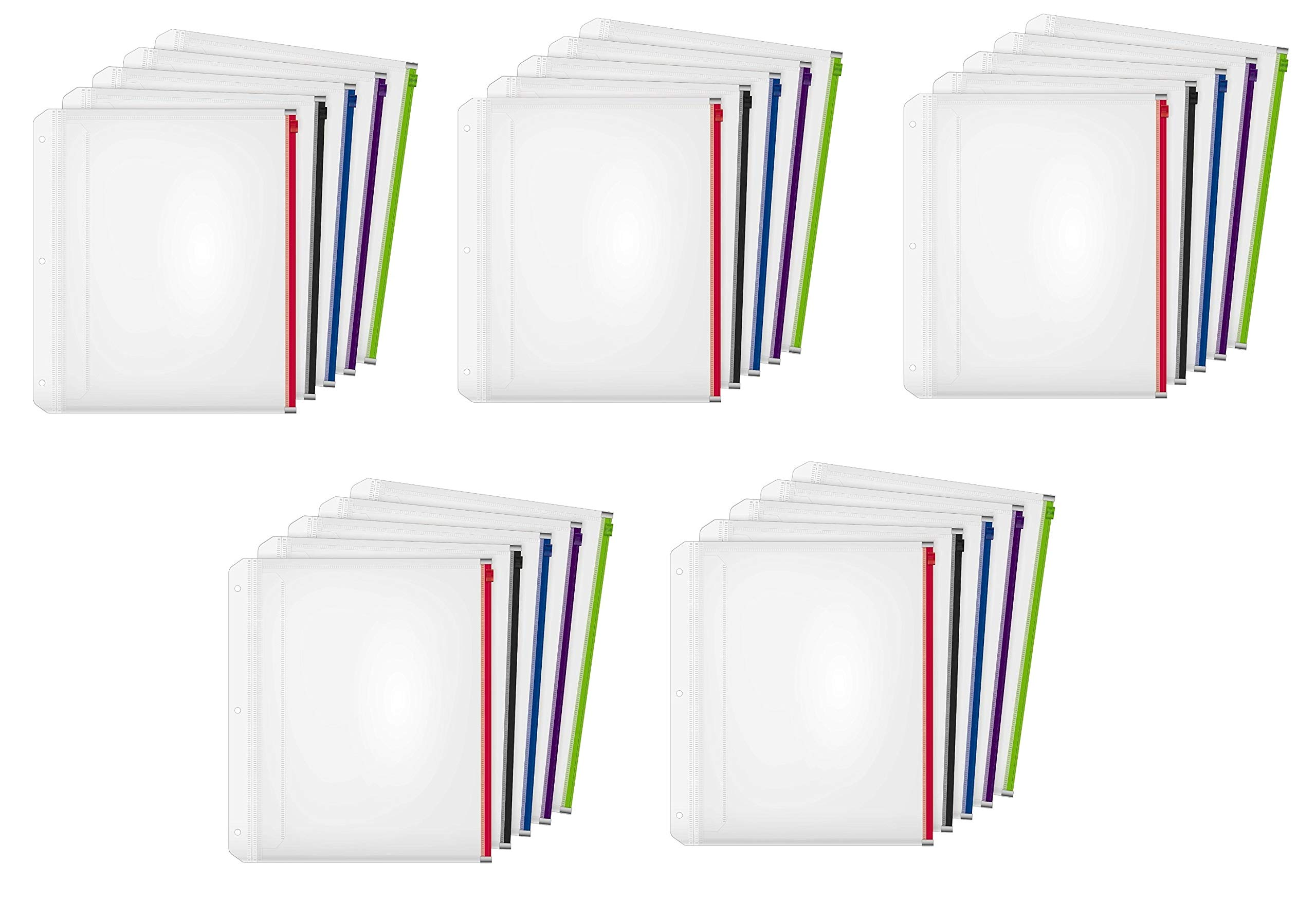 Cardinal Expanding Zipper Binder Pocket, 1/2'', Assorted Colors, 5 Per Pack, Pack of 5, 25 Pockets Total (14650) by Cardinal