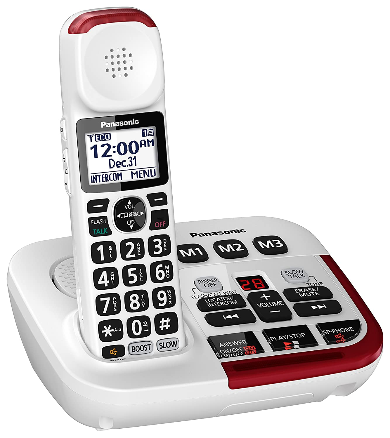 67a36ab85 Amazon.com  Panasonic Amplified Cordless Phone KX-TGM420W with Enhanced  Noise Reduction and Digital Answering Machine - 1 Handset (White)   Electronics