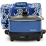 West Bend 84915B Versatility Slow Cooker with Insulated Tote and Transport Lid, 5-Quart, Blue (Discontinued by Manufacturer)