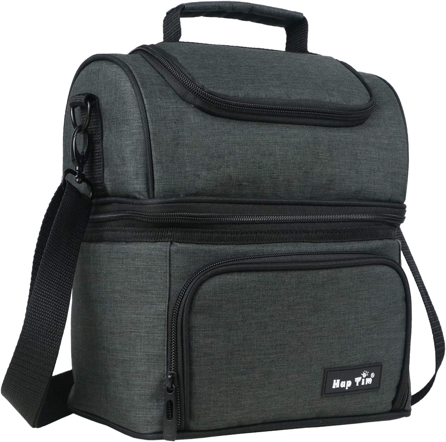 Hap Tim Insulated Lunch Bag Upgraded Large Size Lunch Box for Men, Women,Adult,Kids Dual Compartment Large Lunch Tote Bag for Office/Picnic/Travel/Camping/Work/School (N16040-DG)