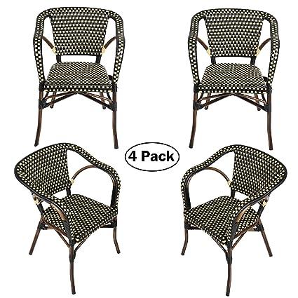 Superb Amazon Com Outdoor Rattan Wicker Chair Set Of 4 Stackable Spiritservingveterans Wood Chair Design Ideas Spiritservingveteransorg