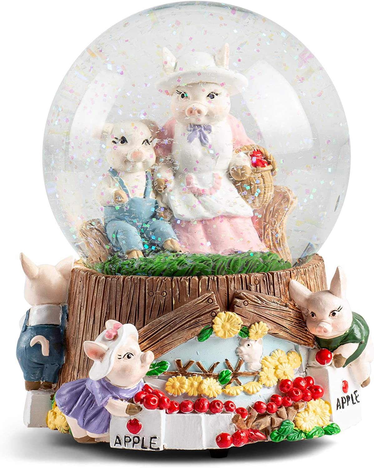 Elanze Designs Momma Pigs and Piglets Figurine 100MM Water Globe Plays Tune Take Me Home, Country Roads
