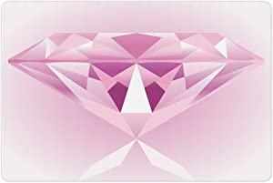Lunarable Diamonds Pet Mat for Food and Water, Triangular Design in Pink Diamond Wedding Celebration Theme Girly Treasure Image Print, Rectangle Non-Slip Rubber Mat for Dogs and Cats, Pink