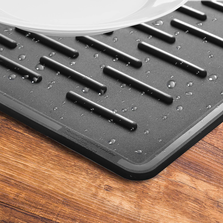 BasicForm XXL Silikon-Trockenmatte f/ür K/üchen-Arbeitsplatte 56.5x43.2x0.35cm Grau
