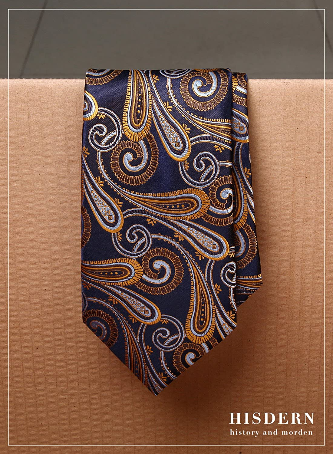 HISDERN Extra Long Floral Paisley Tie Handkerchief Men's Necktie & Pocket Square Set TP926R8XS
