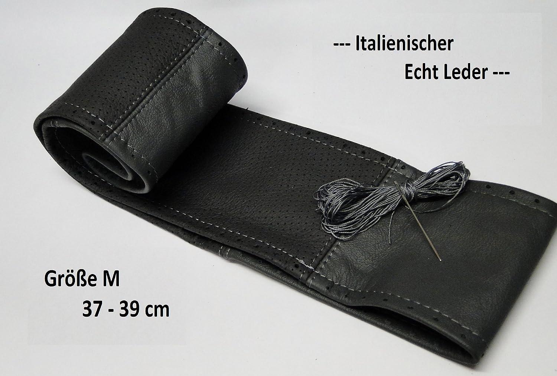 Lenkradbezug Echt Leder Grau gelocht 37-39 cm zum Schnüren Lenkrad Schoner