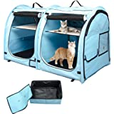 porayhut Mispace Portable Twin Compartment Show House Cat Cage/Condo - Easy to Fold & Carry Kennel - Comfy Puppy Home & Dog T