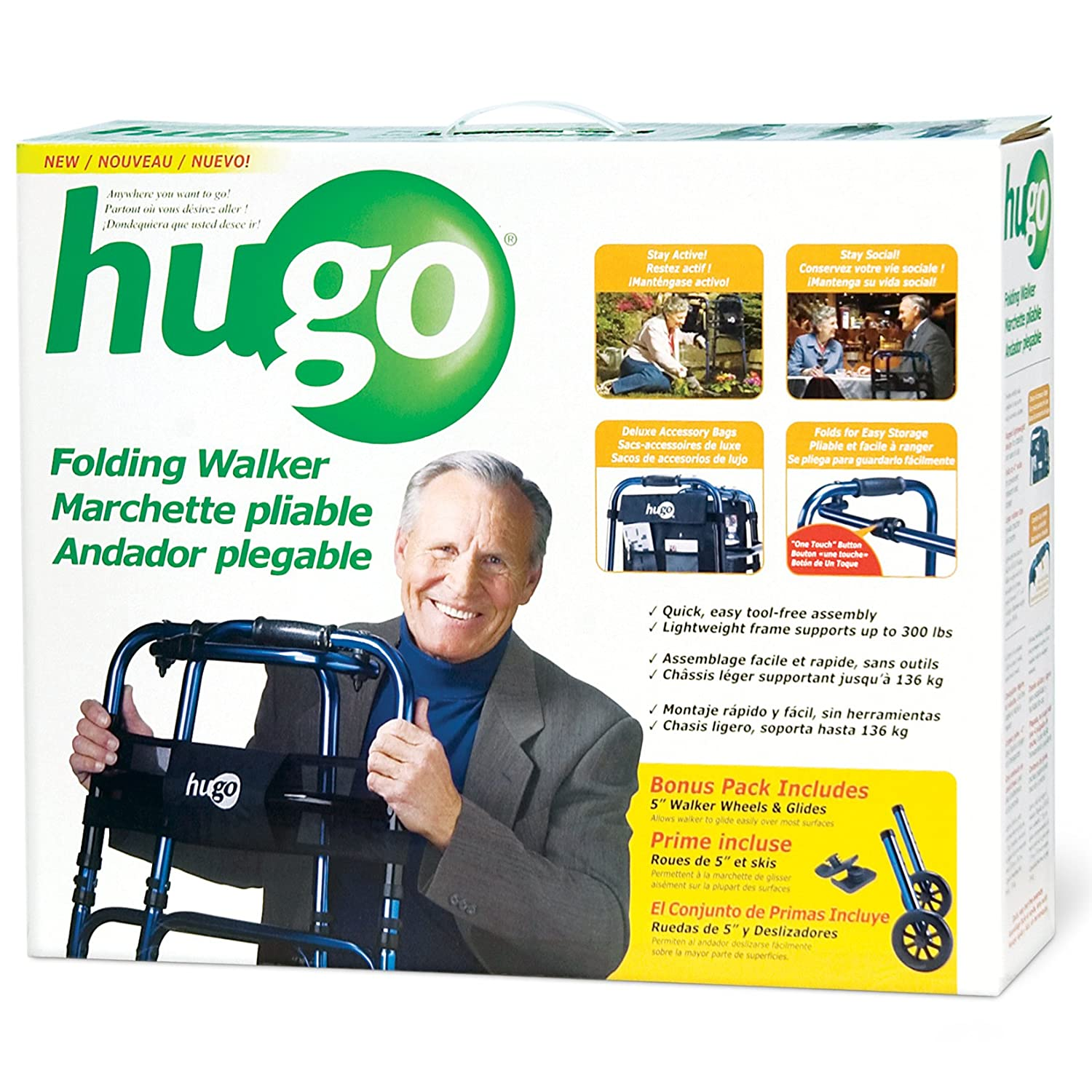 Amazon.com: Hugo Adjustable Folding Walker with 5 Inch Wheels and Plastic Glides, Blue: Health & Personal Care