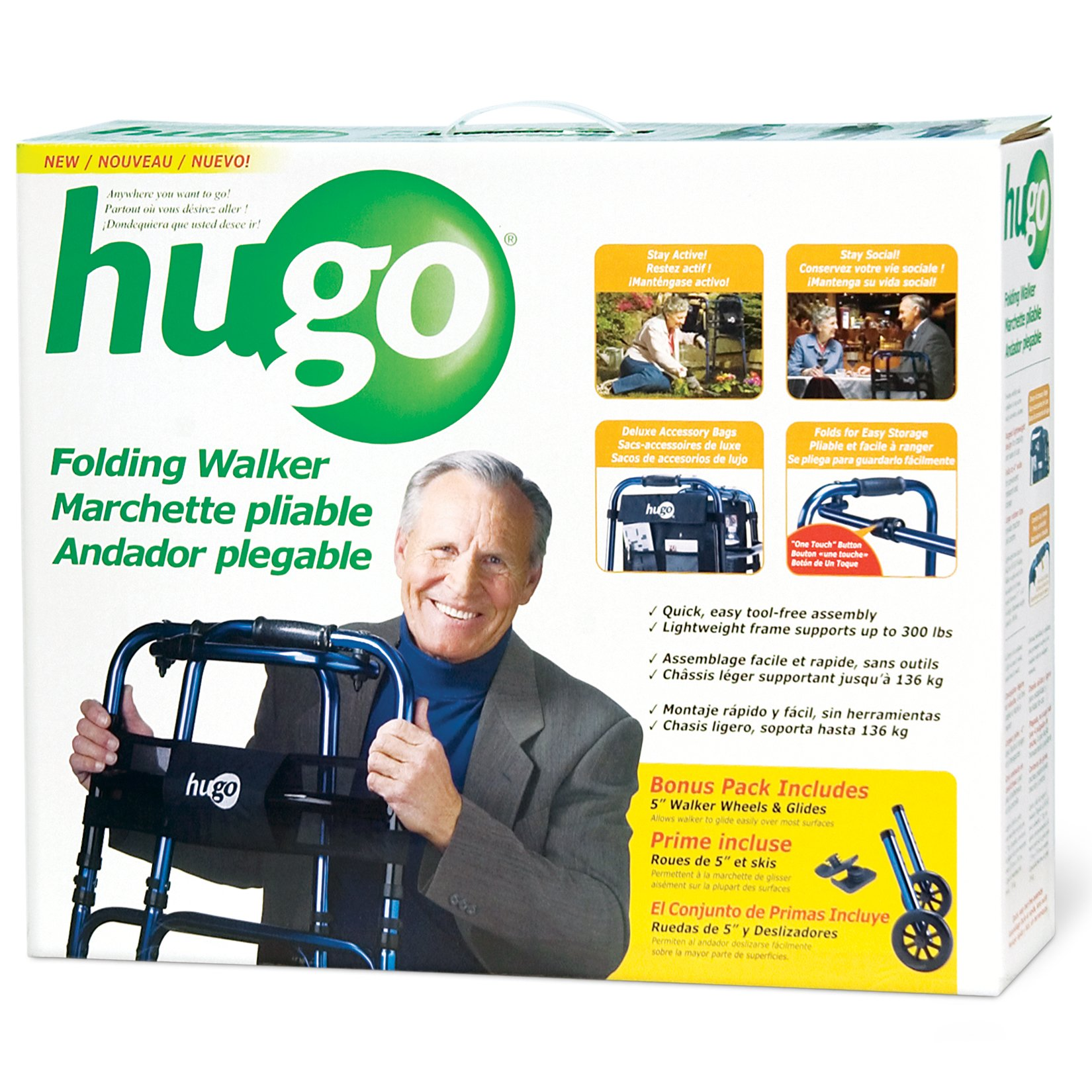Hugo Mobility 770-260 Adjustable Folding Walker with Bonus Wheels and Plastic Glides, Sapphire Blue, 5 Inch