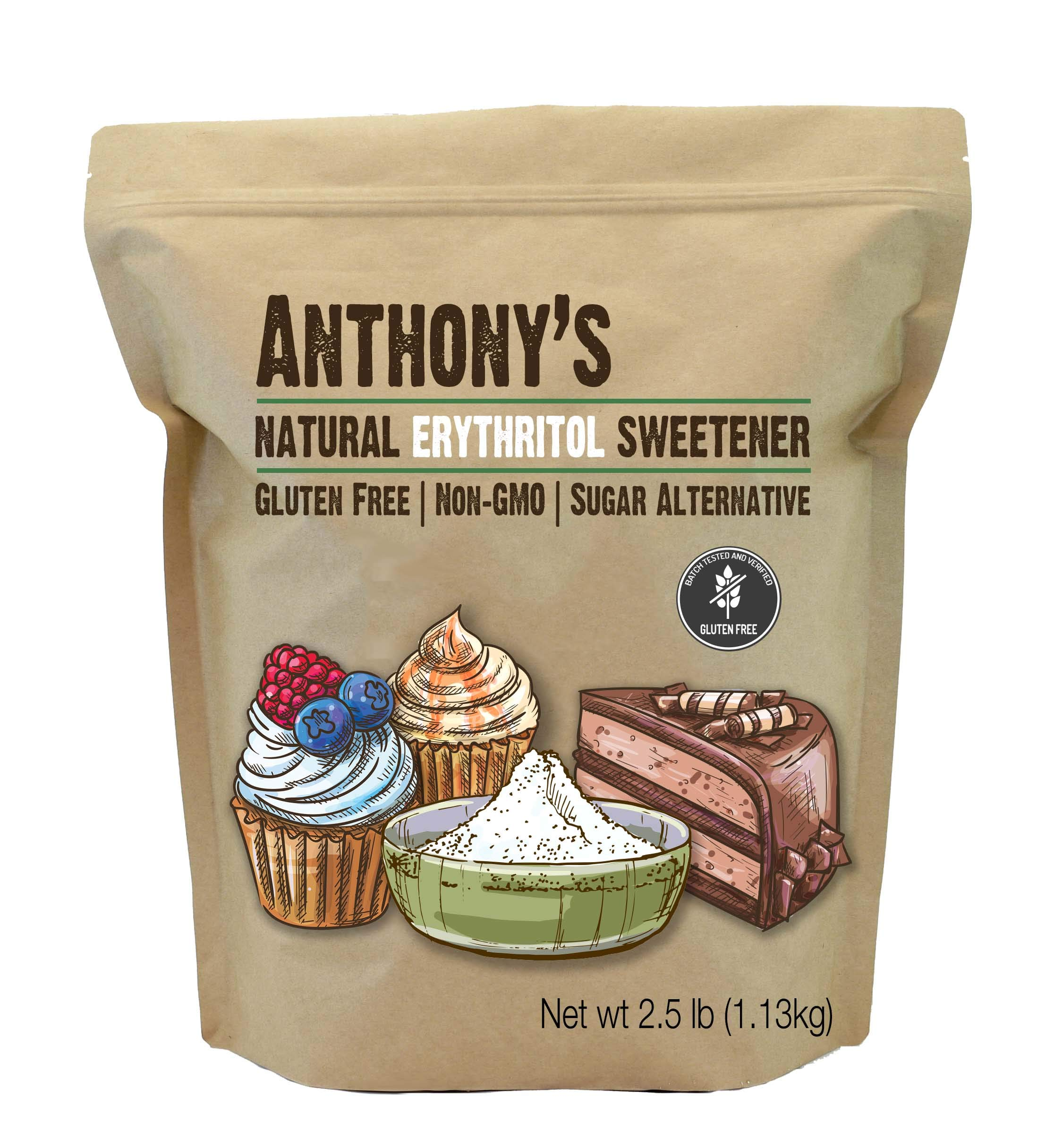 Anthony's Erythritol Granules, 2.5lbs, Non GMO, Natural Sweetener, Keto & Paleo Friendly by Anthony's