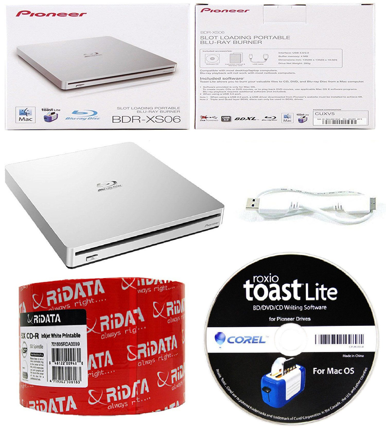 Pioneer 6x BDR-XS06 Slim Slot Portable External Blu-ray BDXL Burner, Roxio Toast Lite Software and USB Cable Bundle with 50pk CD-R RiDATA White Inkjet Printable