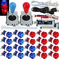 SJ@JX 2 Player Arcade Game Stick DIY Kit Buttons with Logo LED 8 Way Joystick USB Encoder Cable Controller for PC MAME…