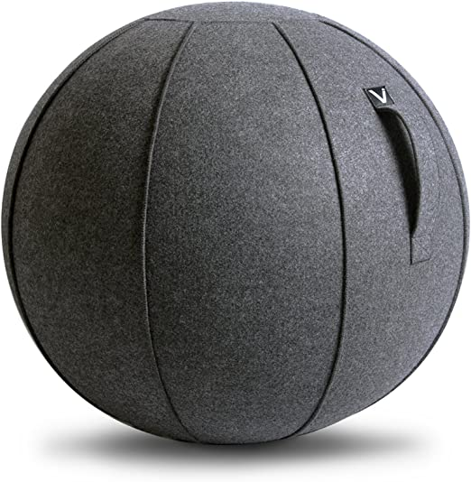 Amazon Com Vivora Luno Sitting Ball Chair For Office Dorm And Home Lightweight Self Standing Ergonomic Posture Activating Exercise Ball Solution With Handle Cover Classroom Yoga Home Kitchen