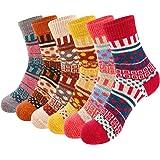 VoJoPi 6 Pares Calcetines Termicos de Mujer, Calcetines Invierno de Lana Frio Extremo, Calcetines Colores Cálidos de…