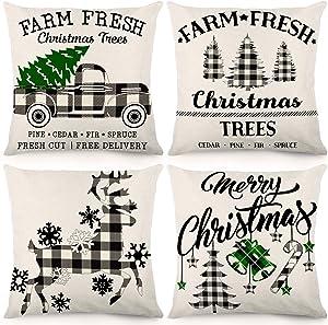 CDWERD Christmas Pillow Covers 18x18Inches Christmas Decorations Black Buffalo Check Plaid Farmhouse Decor Throw Pillowcase Cotton Linen Cushion Case for Home Decor Set of 4
