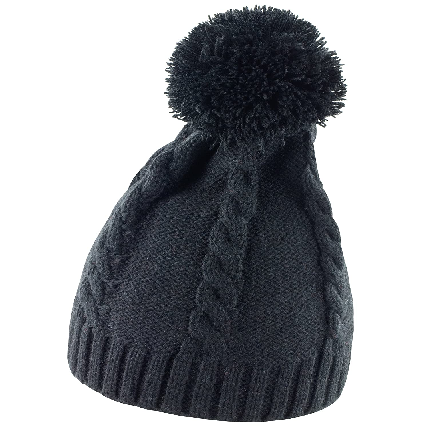 b2892d279bf Amazon.com  Result Ladies Womens Cable Knit Pom Pom Winter Beanie Hat (One  Size) (Black)  Clothing
