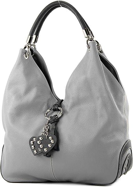 modamoda de - shopper sac à main en cuir italien sac à bandoulière 330, Couleur:Gris/Gris foncé